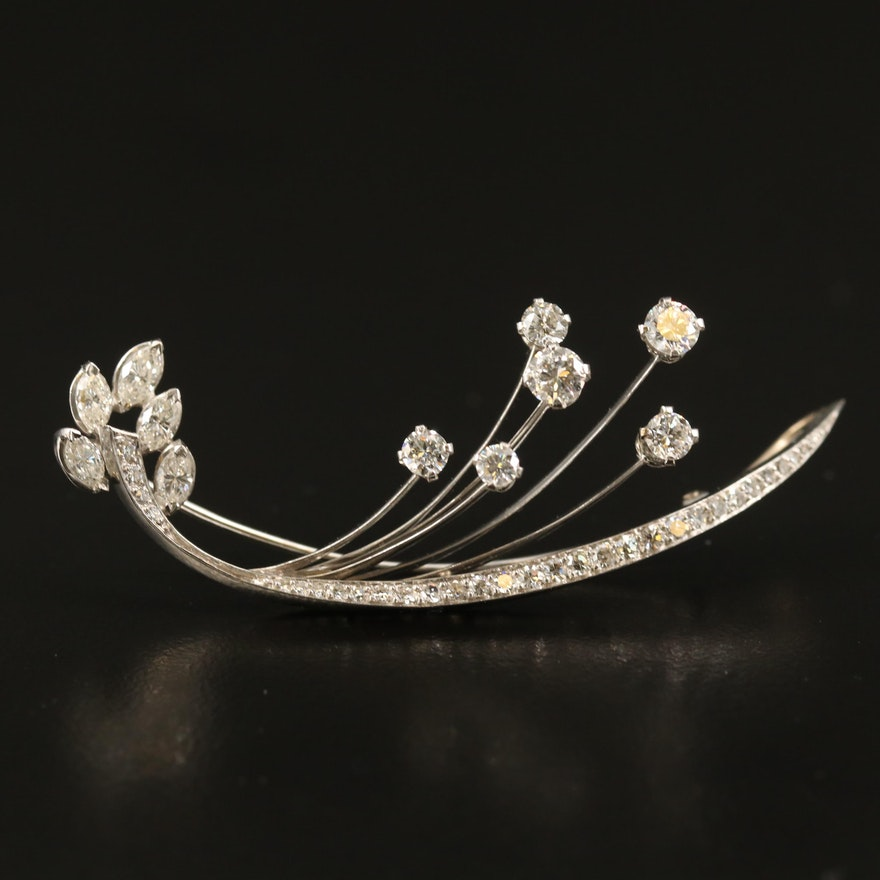 Retro 18K 1.75 CTW Diamond Foliate Converter Brooch
