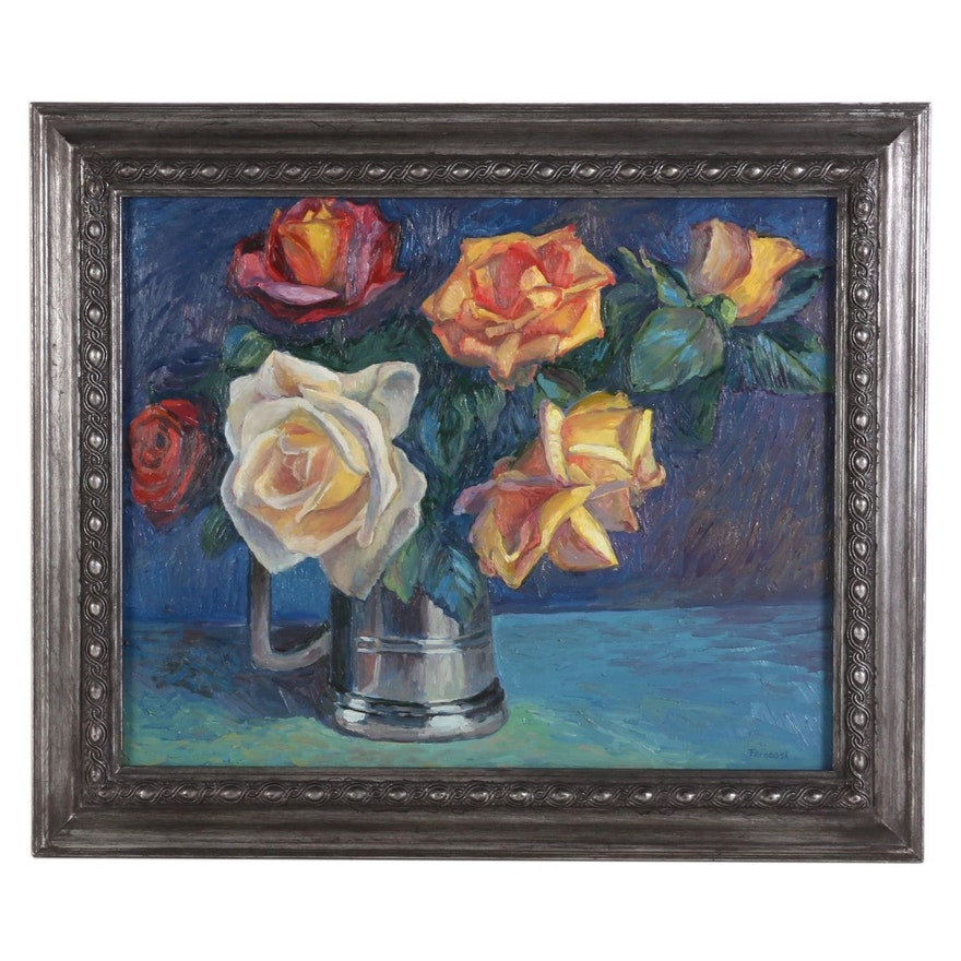 "Farnoosh Lanjani Oil Painting ""Roses,"" 21st Century"