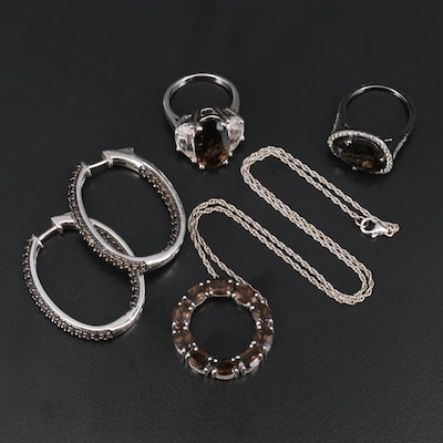 Sterling Smoky Quartz, White Topaz and Rock Crystal Quartz Jewelry Selection