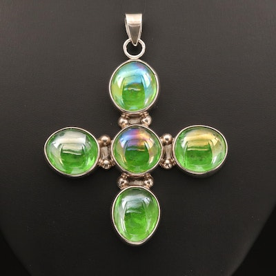 Mexican Sterling Glass Cross Pendant