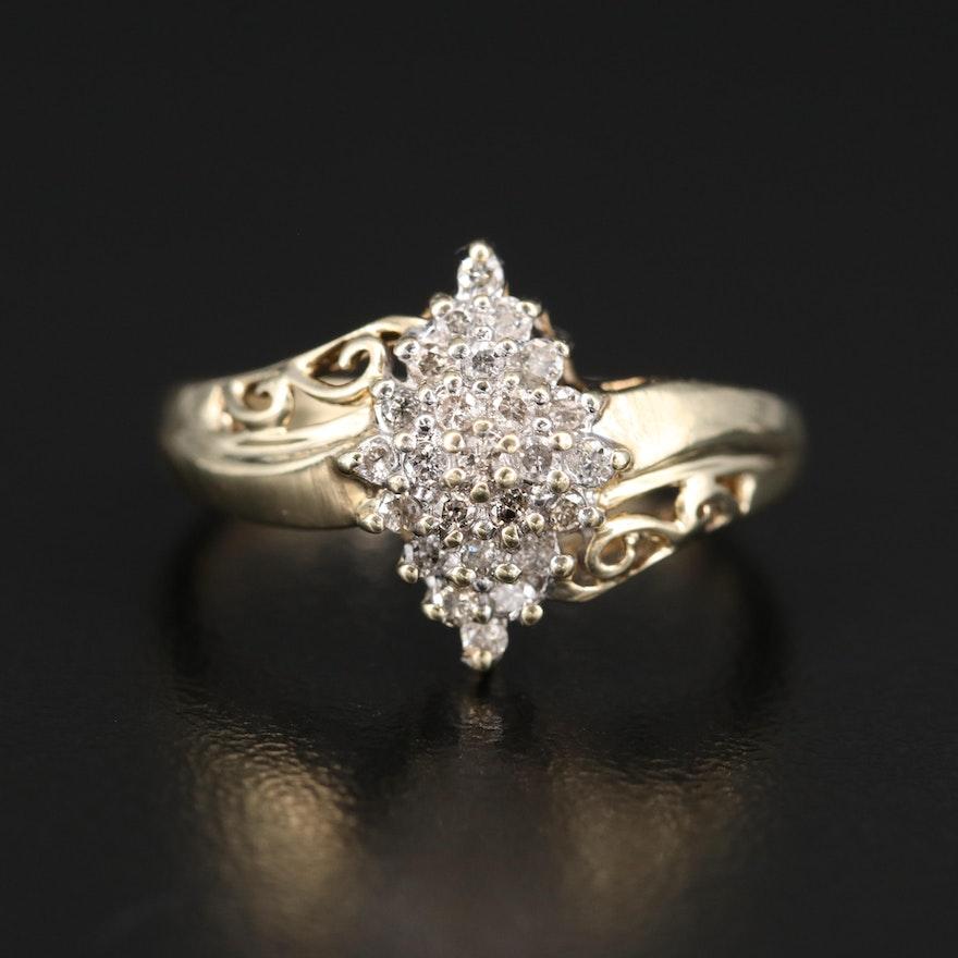 10K Diamond Cluster Ring with Openwork Shoulders