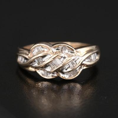 10K Diamond Ring with Braided Pattern