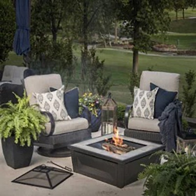 "Member's Mark  Contemporary 36"" Wood Burning Fire Pit and Tile Top Table"