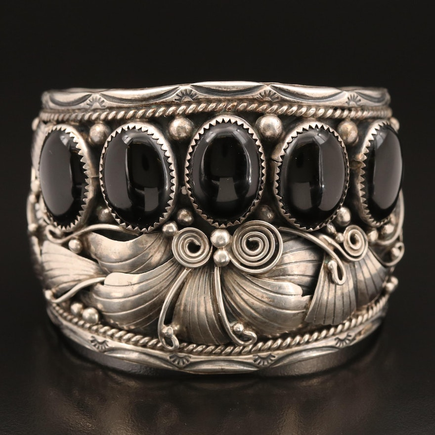 Augustine Largo Navajo Diné Sterling Onyx Feather Applique and Stampwork Cuff
