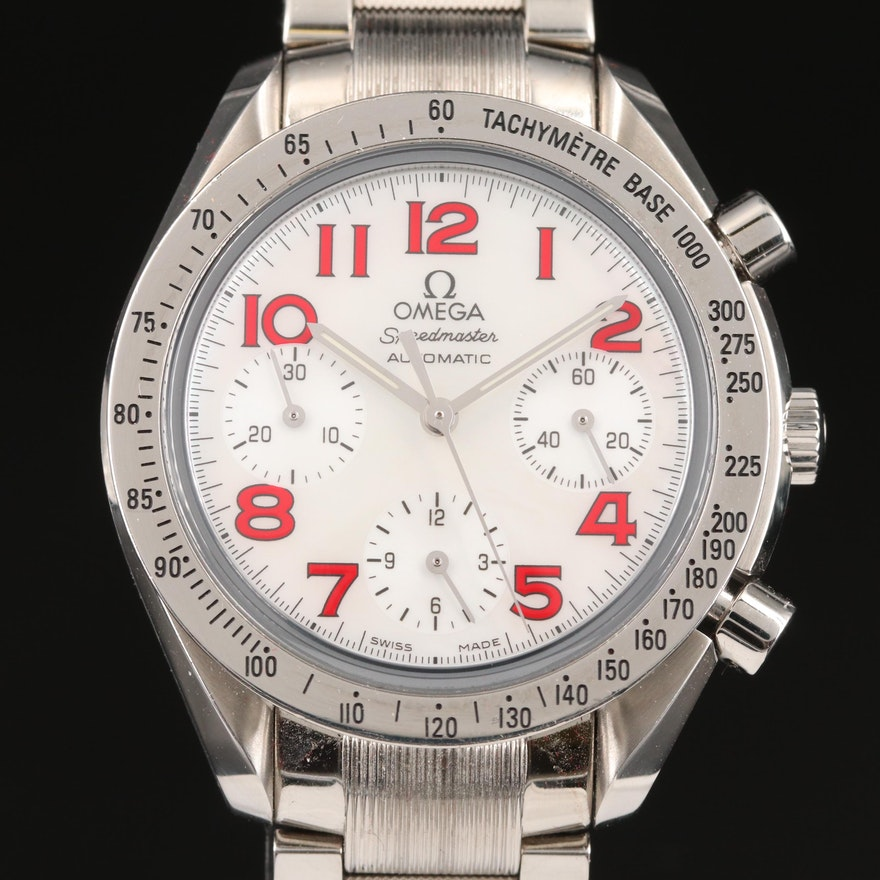 """Omega """"Speedmaster"""" Reduced Automatic Wristwatch with Mother of Pearl Dial"""