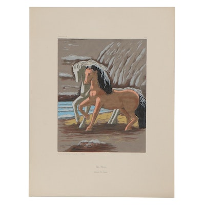 "Serigraph after Giorgio de Chirico ""Two Horses"""