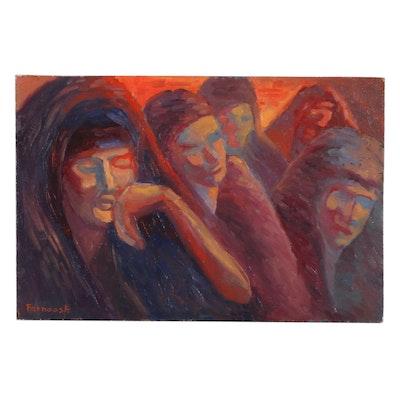 "Farnoosh Lanjani Oil Painting ""Women II,"" 21st Century"