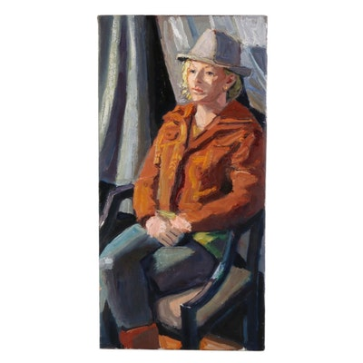 "Stephen Hankin Oil Painting ""Woman in a Grey Fedora,"" 21st Century"
