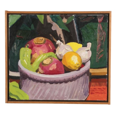 "Stephen Hankin Oil Painting ""Still Life With Turnips,"" Late 20th-21st Century"