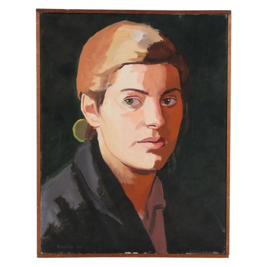 """Stephen Hankin Oil Painting """"Lorraine,"""" 1982"""