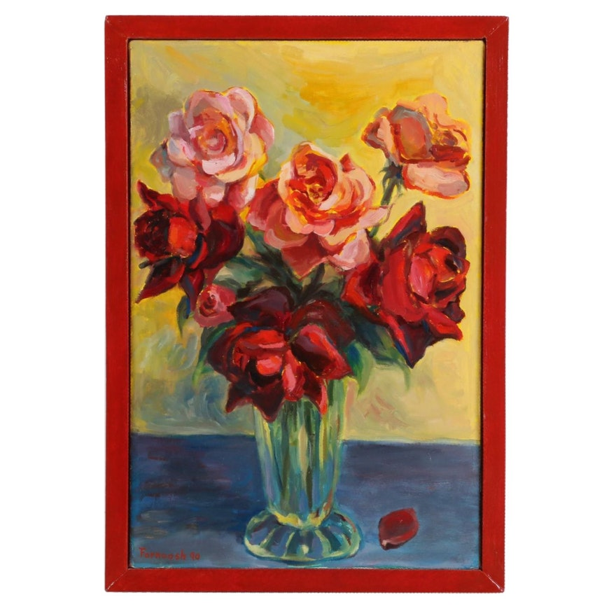 "Farnoosh Lanjani Oil Painting ""Roses,"" 1990"