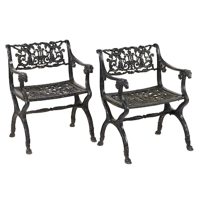 Cast Iron Garden Armchairs, Late 20th Century