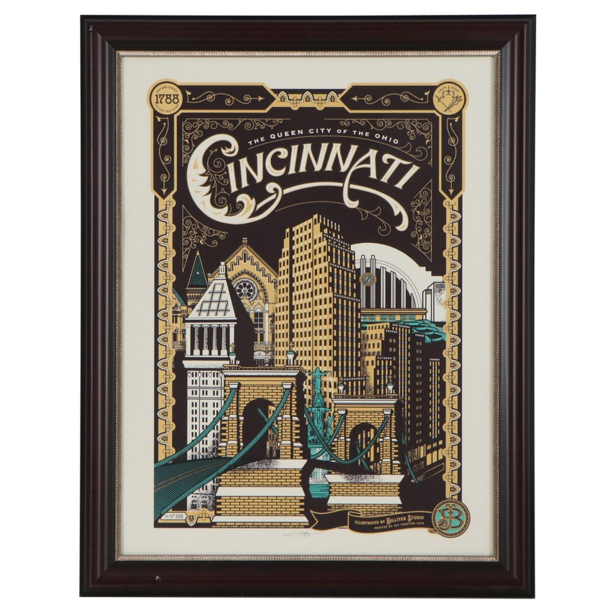 "James Billiter Serigraph ""Cincinnati Heritage Riverfront,"" 21st Century"