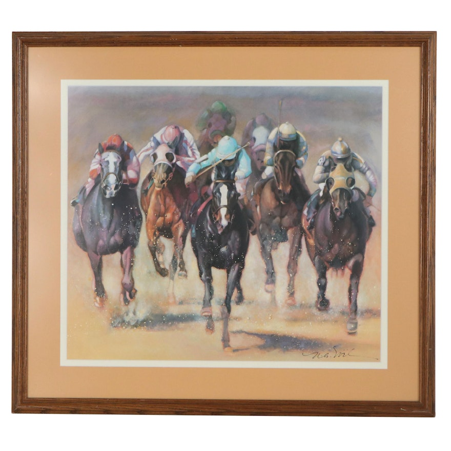 """N.A. Noël Offset Lithograph of Horse Race """"Odds Are,"""" 21st Century"""