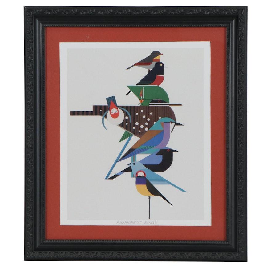 "Offset Lithograph after Charley Harper ""Rainforest Birds,"" 21st Century"