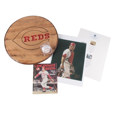 "Johnny Bench Signed Baseball, ""Diary of a Winner"", Print and Reds Barrel Top"