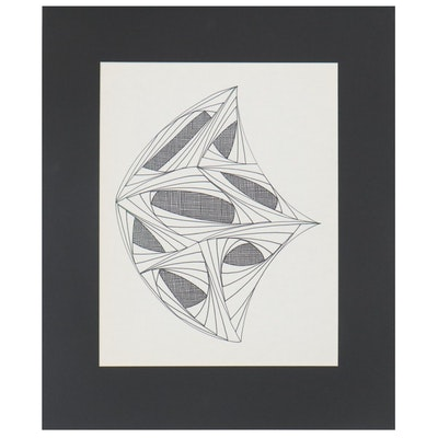 W. Glen Davis Geometric Abstract Ink Drawing