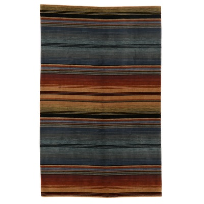 5'1 x 8'1 Hand-Knotted Indian Striped Area Rug