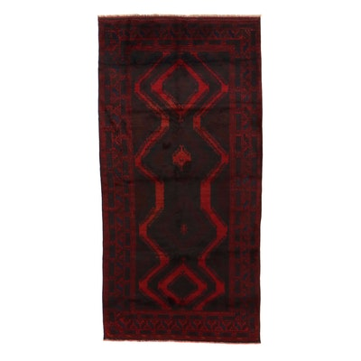 4'8 x 9'4 Hand-Knotted Afghan Baluch Area Rug