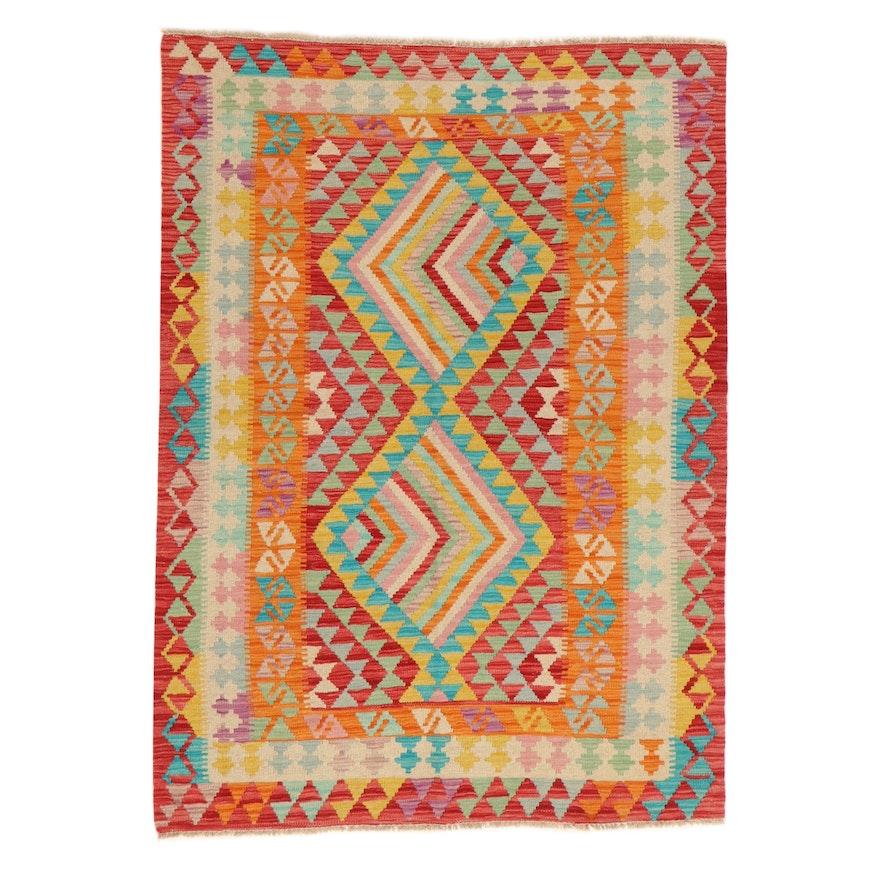 4' x 5'8 Handwoven Afghan Kilim Wool Area Rug