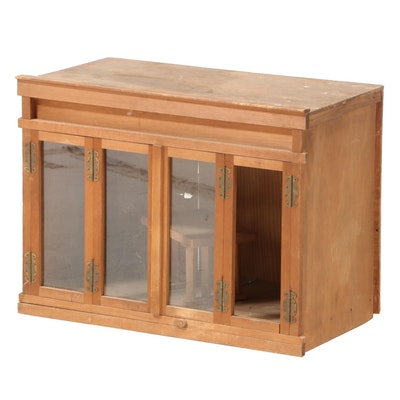 Small Chinese Pine Cabinet with Folding Framed Glass Doors