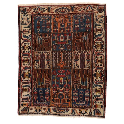5'1 x 6'4 Hand-Knotted Persian Bakhtiari Garden Panel Area Rug