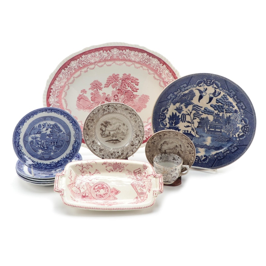"W.H. Grindley and Co. ""Japanese"" Sandwich Tray, and Other Transferware"
