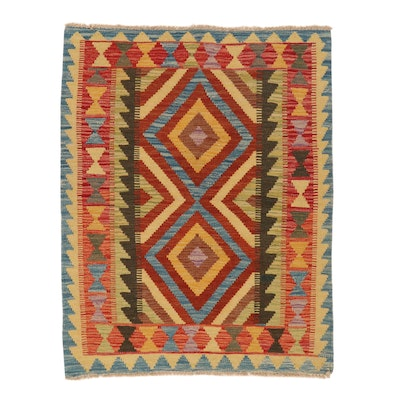 2'11 x 3'10 Handwoven Afghan Kilim Accent Rug