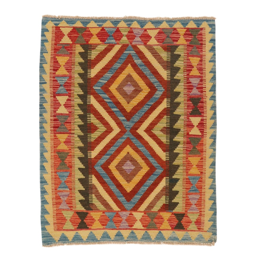 2'11 x 3'10 Handwoven Afghan Kilim Accent Rug