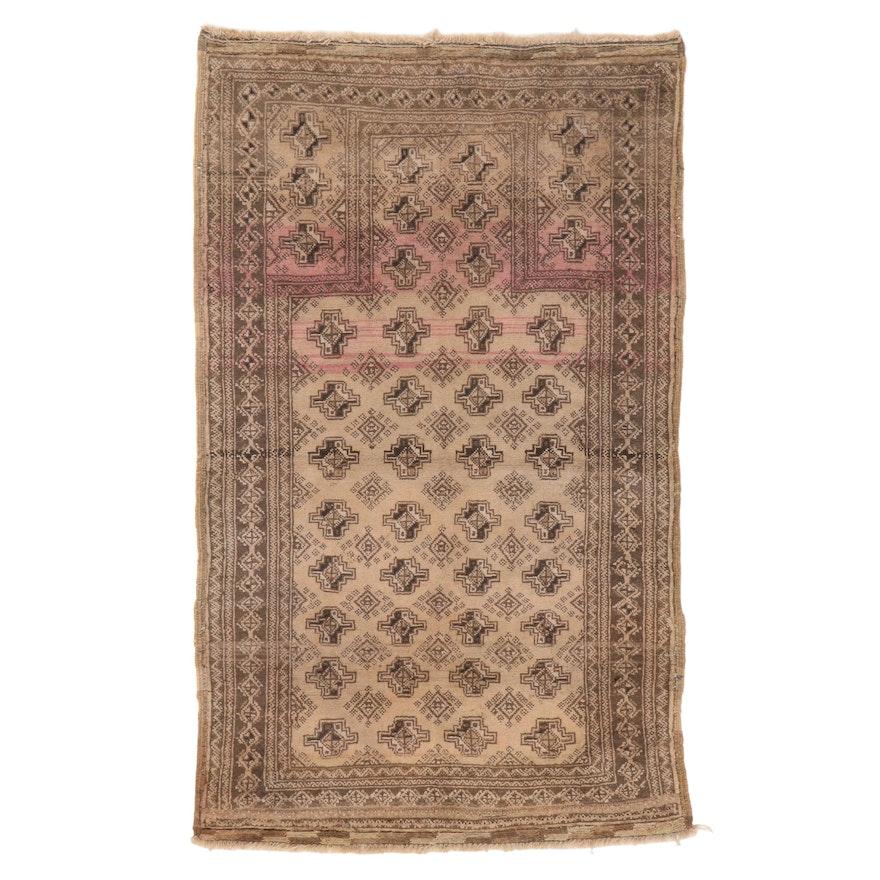 2'8 x 4'5 Hand-Knotted Afghan Turkmen Prayer Rug