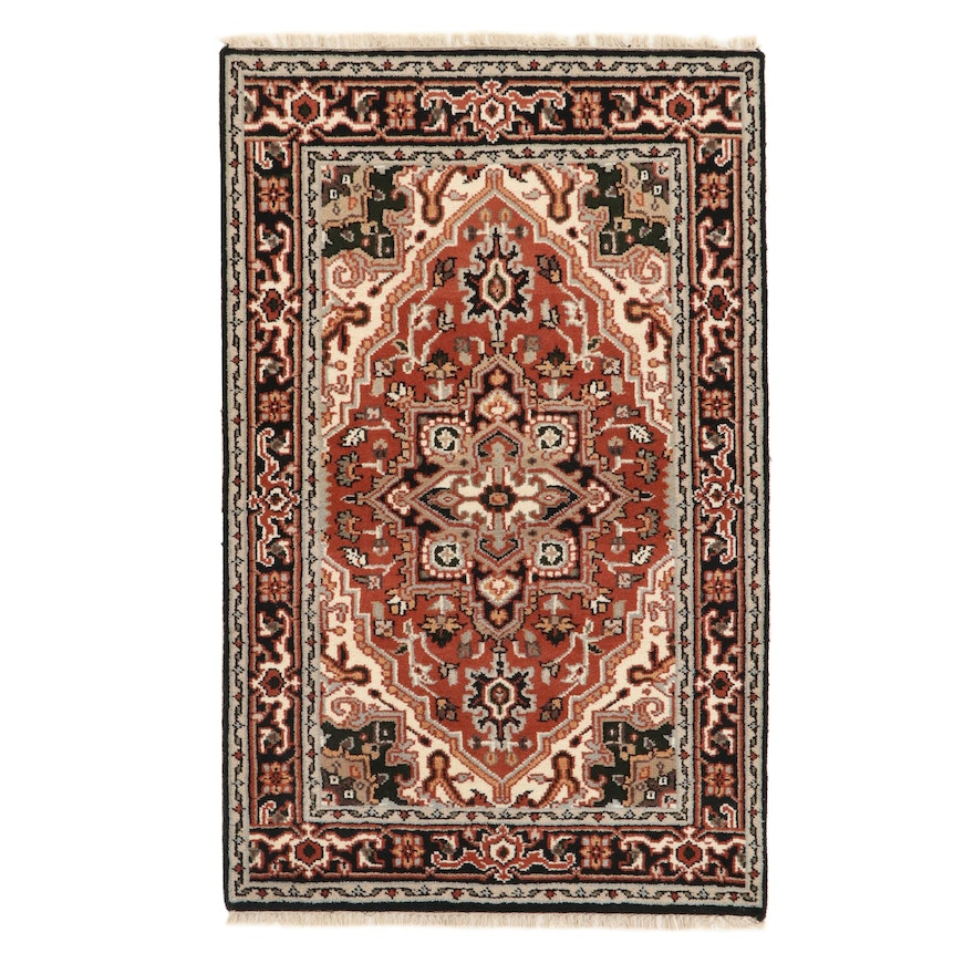 3'10 x 6'1 Hand-Knotted Indo-Persian Heriz Wool Area Rug