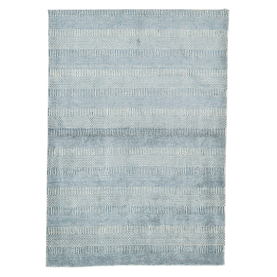 4'2 x 5'11 Hand-Knotted Indian Wool Area Rug