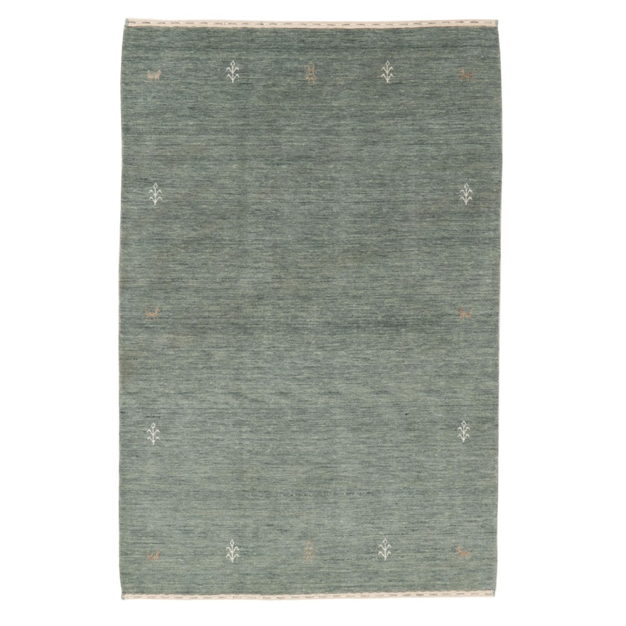 3'11 x 6' Hand-Knotted Indian Gabbeh Wool Area Rug