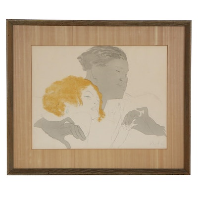 "Figurative Color Lithograph ""Contrasting,"" Late 20th Century"