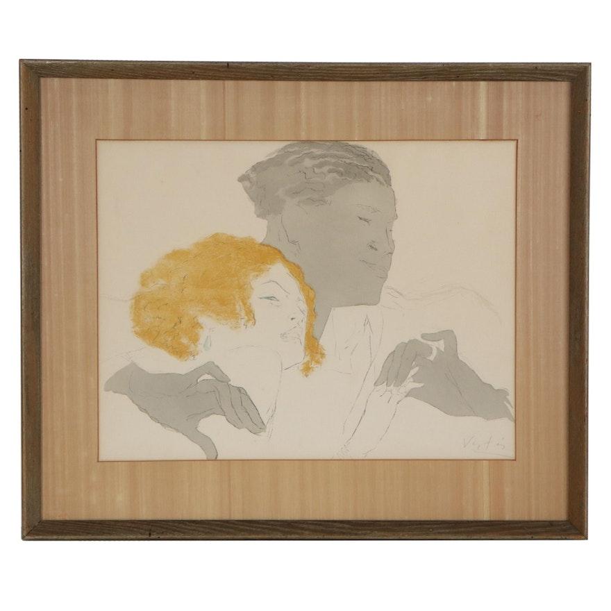 "Figurative Color Lithograph ""Contrasting,"" Late 20th Century"