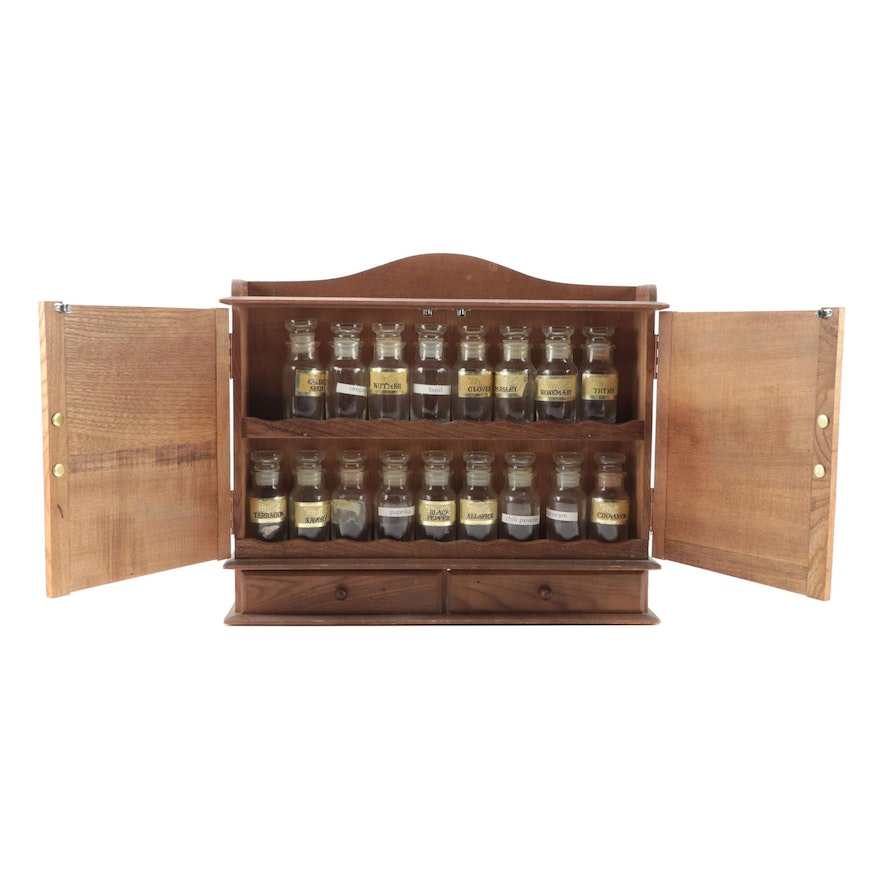 Japanese Oak Wood Hanging Spice Cabinet with Glass Jars, Mid-20th C.