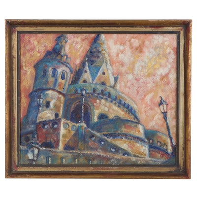 "C.C. Logan Oil Painting ""Fisherman's Bastion, Budapest,"" Mid-Late 20th Century"