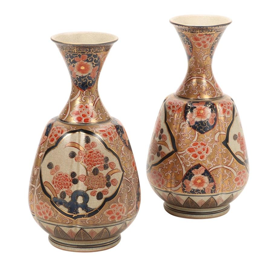 Imari Style Chrysanthemum Mantle Vases