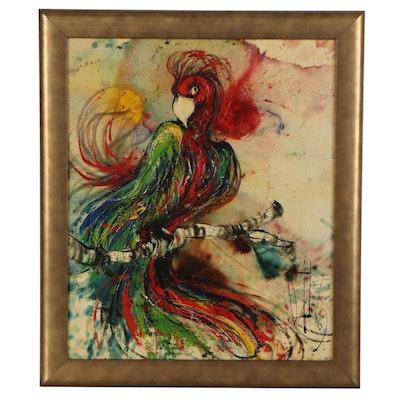 "Acrylic Painting ""Hot Rumba,"" Late 20th Century"