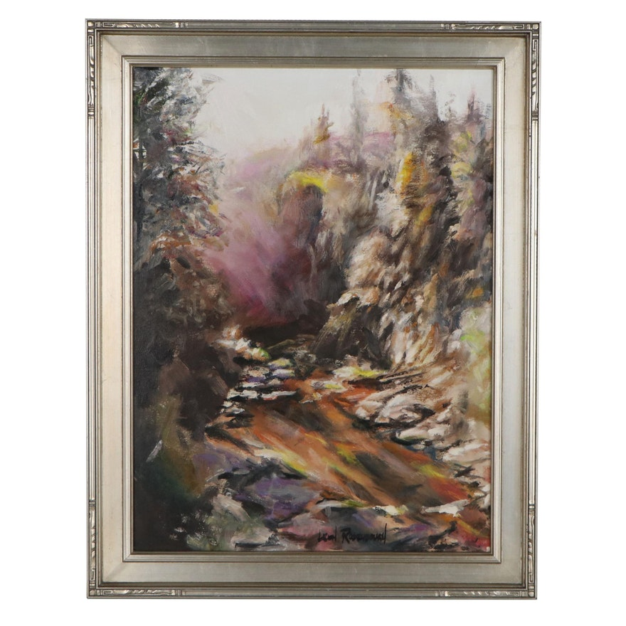 """Leigh Rodenbough Oil Painting """"Going Down the Trail,"""" Late 20th Century"""