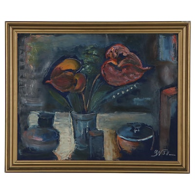 European School Style Still Life Mixed Media Painting, 1958