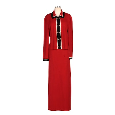 St. John Collection Red Knit Jacket and St. John Evening Full-Length Skirt