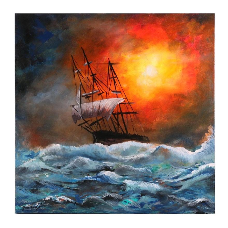 Farshad Lanjani Nautical Seascape Acrylic Painting, 21st Century