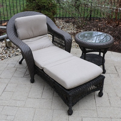 Outdoor Patio Chaise Lounge with Glass Top Side Table