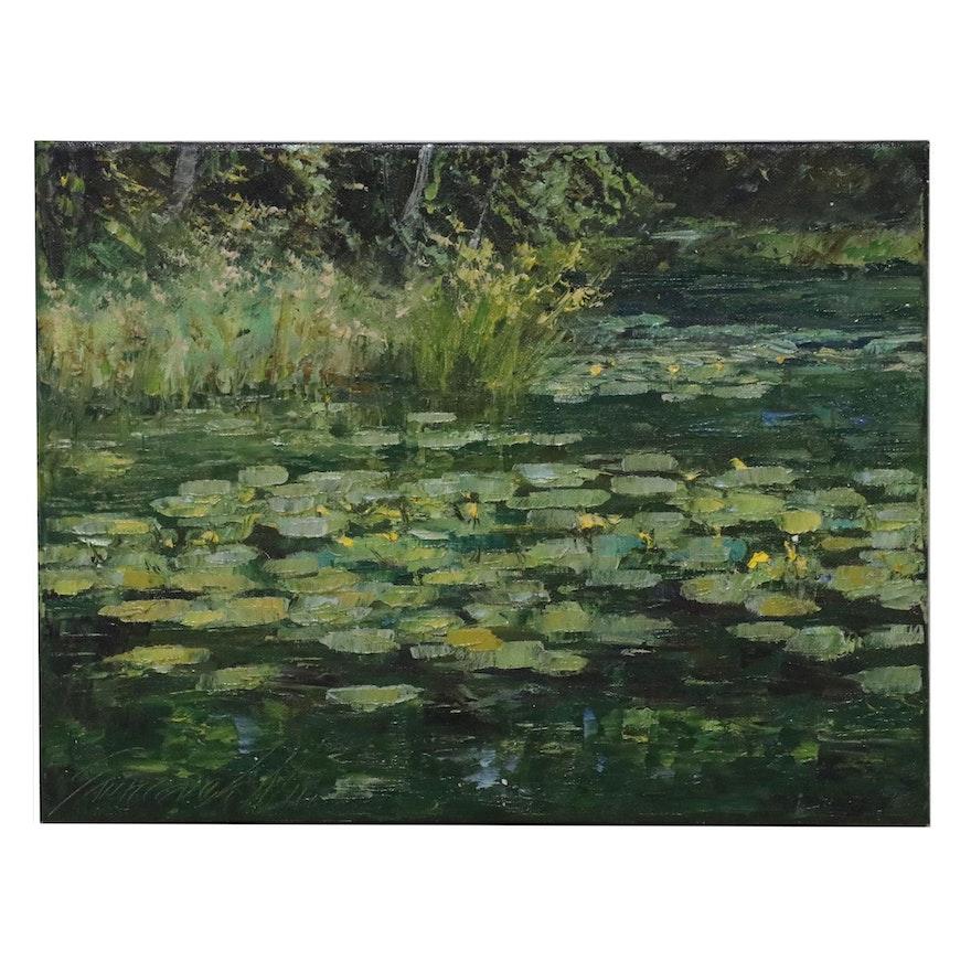 """Garncarek Aleksander Landscape Oil Painting """"In the Park,"""" 2021"""