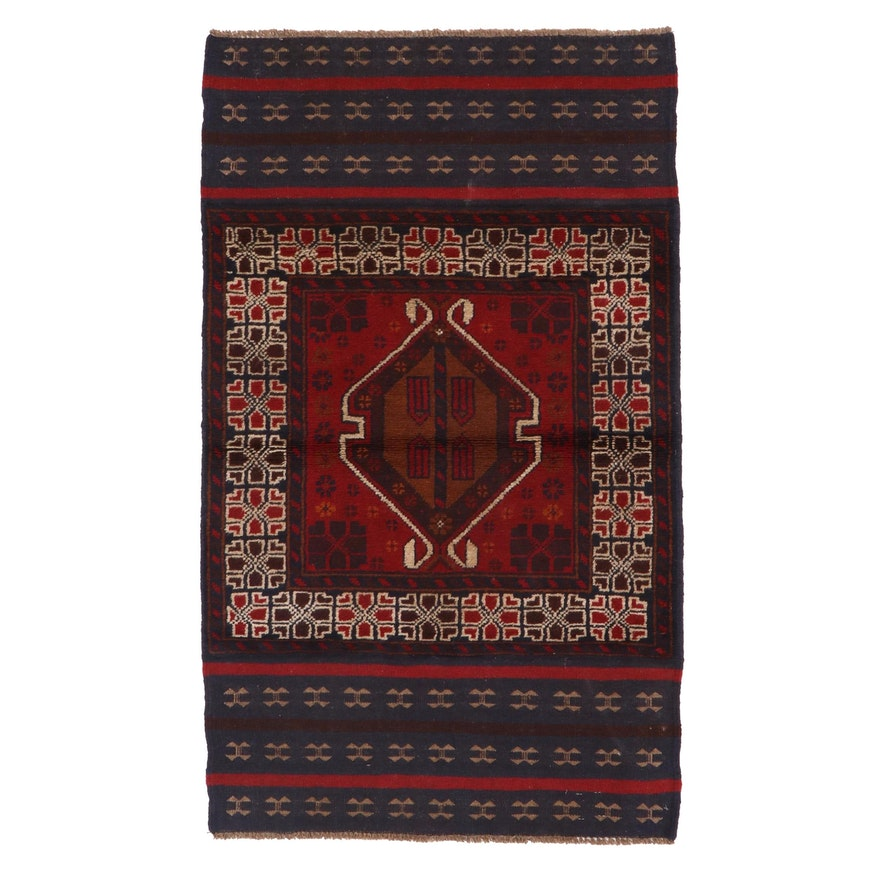 2'10 x 4'9 Hand-Knotted Afghan Baluch Wool Accent Rug