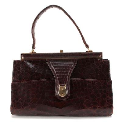 Argentinian Caiman Art Brown Caiman Skin Frame Top Handle Handbag