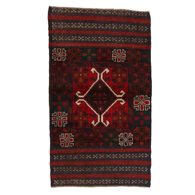 2'8 x 4'9 Hand-Knotted Afghan Baluch Accent Rug