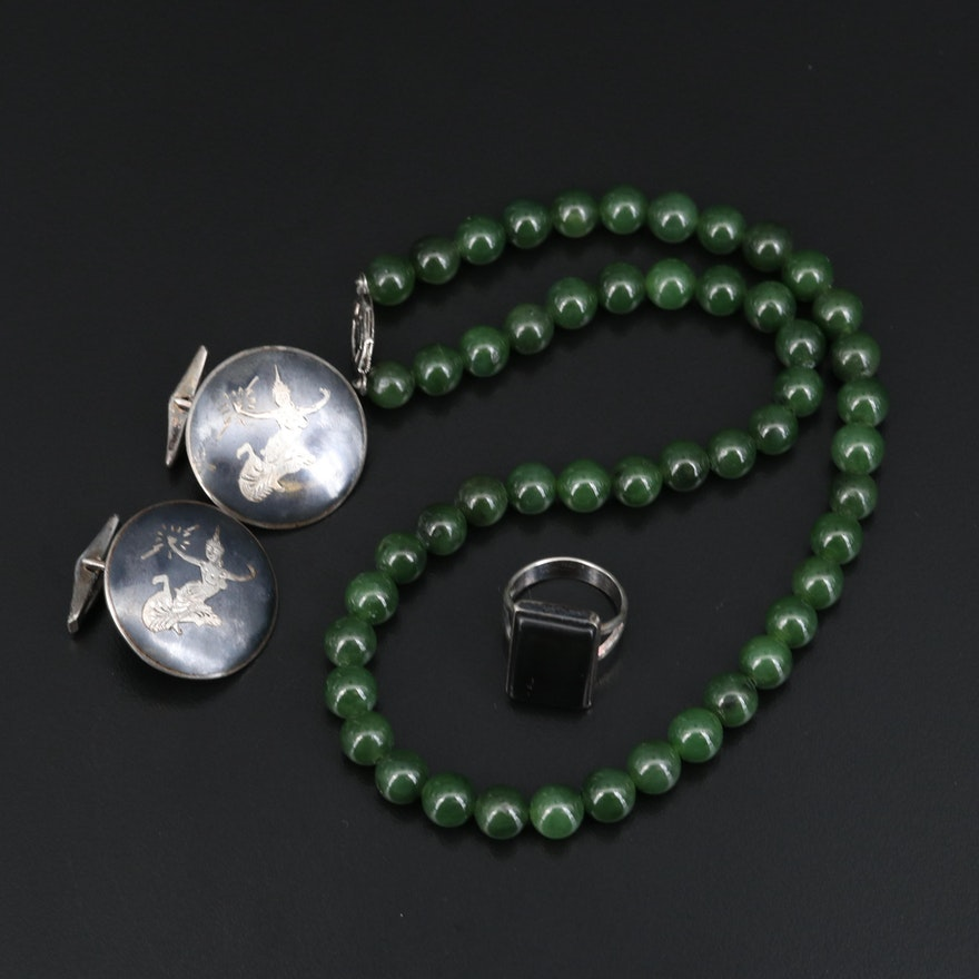 Sterling Thai Niello Cufflinks, Nephrite Necklace and Faux Black Onyx Ring