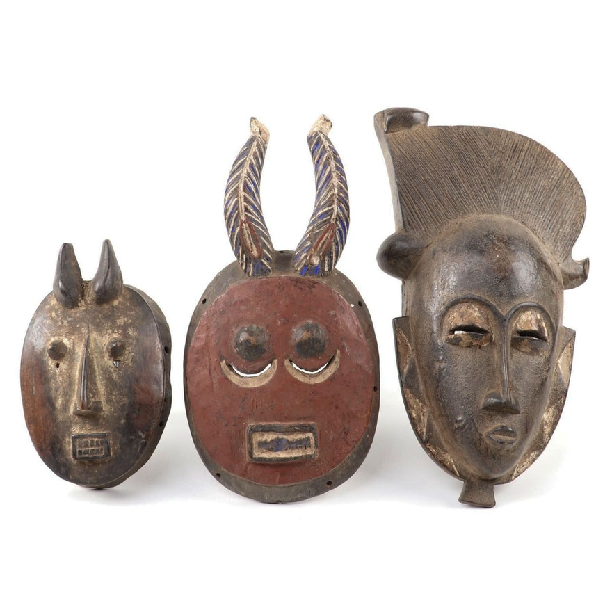 "Baule ""Kple Kple"" Mask and Other Baule Style Masks, West Africa"